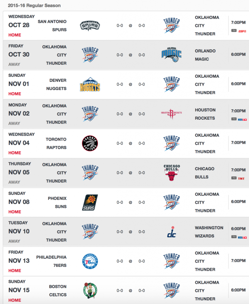 okc thunder schedule 2015-16