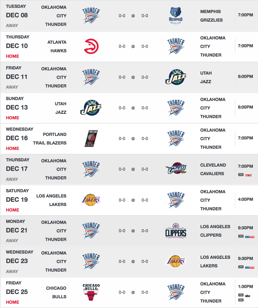 Okc thunder 2015 16 schedule released thunder nation - Reasons always schedule regular home inspection ...