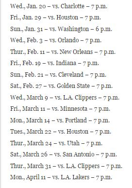 thunder home schedule